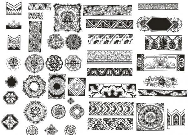 古典花纹边框相框矢量素材