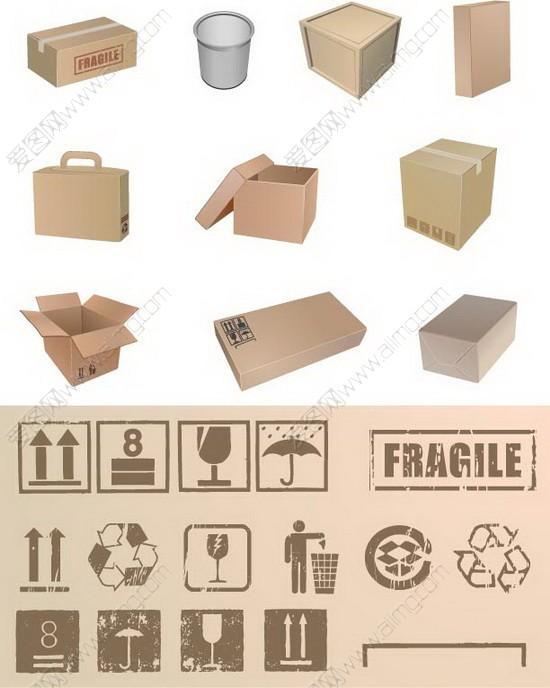 矢量纸箱纸桶与纸箱包装标识