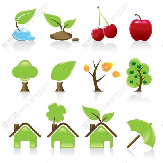 绿叶图标树图标绿色家园图标绿色雨伞图标矢量图标