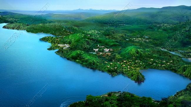 湖光山色鸟瞰图
