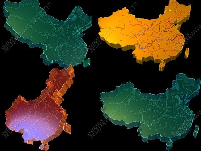 立体中国地图psd分层素材