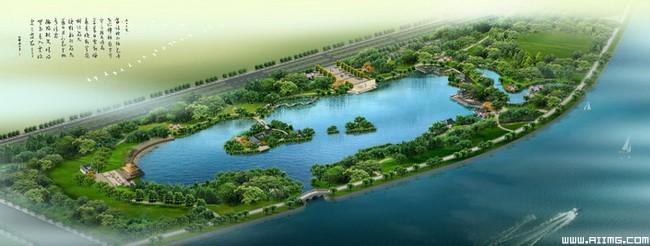 岛屿小区规划图psd分层素材