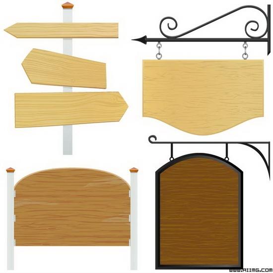 欧式木纹指示牌矢量素材