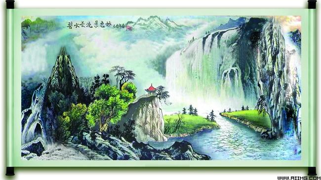 优美的山水画卷psd分层素材图片