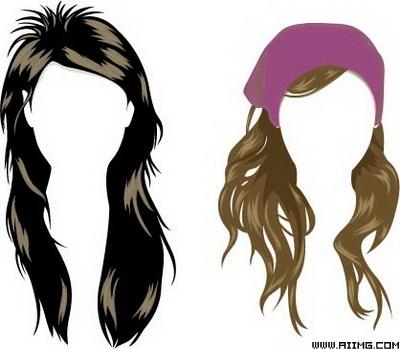 女性头发发型矢量素材
