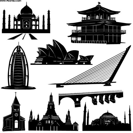 黑白建筑矢量素材 - 爱图网设计图片素材下载