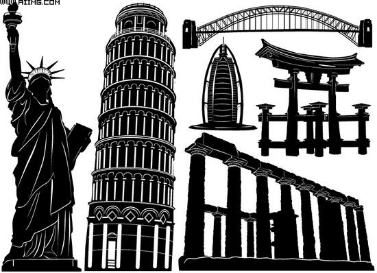 黑白建筑矢量素材