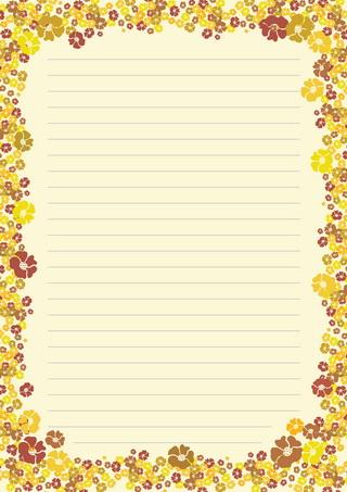 漂亮的花朵信纸模板矢量素材