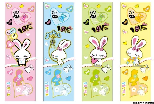 可爱卡通兔子矢量素材