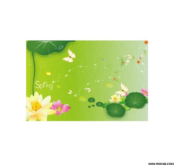 6款绿色春天海报吊旗矢量素材 - 爱图网亚博娱乐平台唯一官网授权图片素材