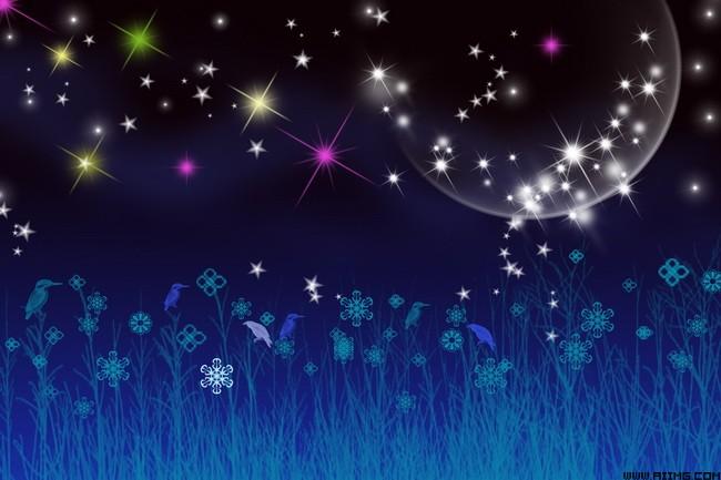 梦幻星空星空背景梦幻星星夜景树鸟花纹月亮