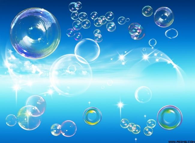 透明幻彩泡泡psd分层素材
