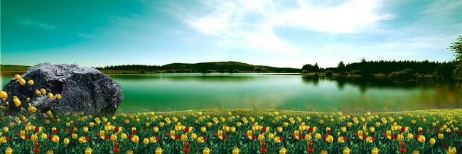 春天湖边草地风景图片素材