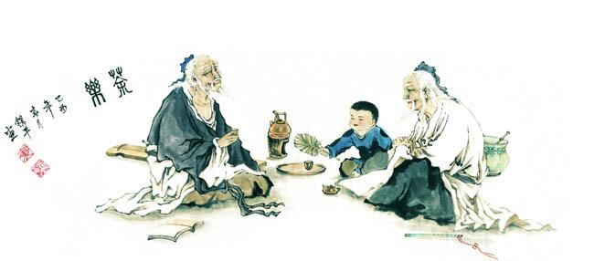 饮茶文化_国画古代人物饮茶图 - 爱图网设计图片素材下载