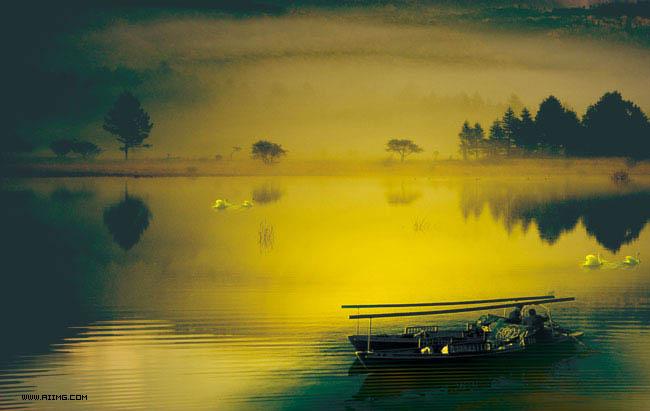 天鹅湖风景图片素材