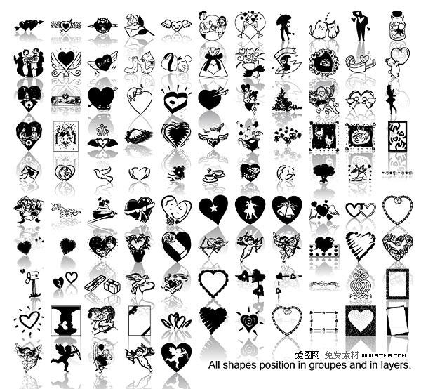 黑白爱情元素矢量素材