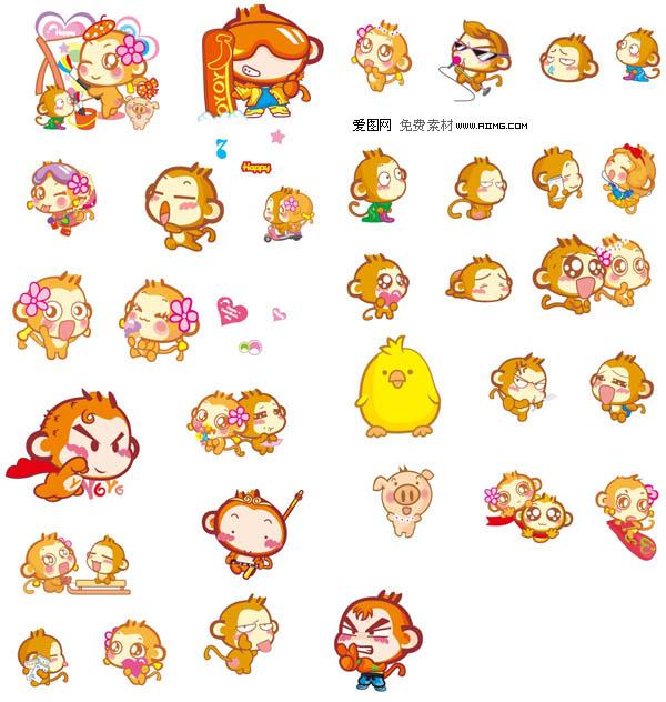 悠喜猴yoci可爱表情表情素材-爱图网设计图片的带的矢量包可爱字图片