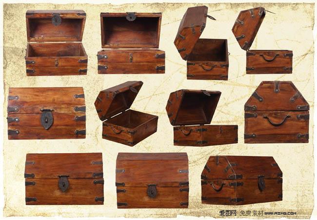 木盒盒子老式盒子木箱小箱子箱子图片老式箱子psd