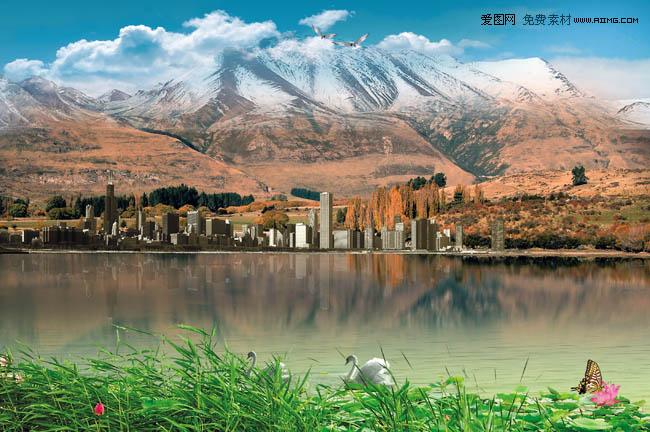 山脚下的美丽风景图片