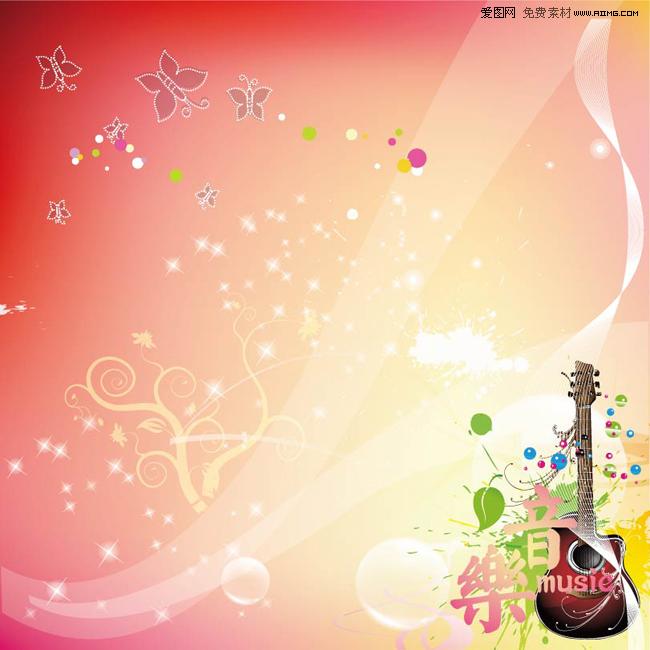 彩色音乐键符号背景矢量素材图片