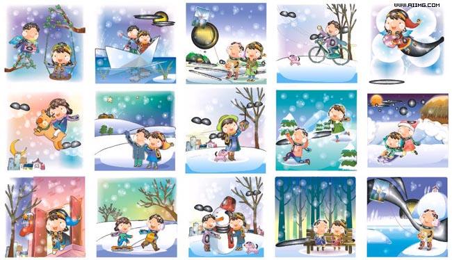 幼儿简笔画冬天雪景内容图片展示_幼儿简笔画冬天