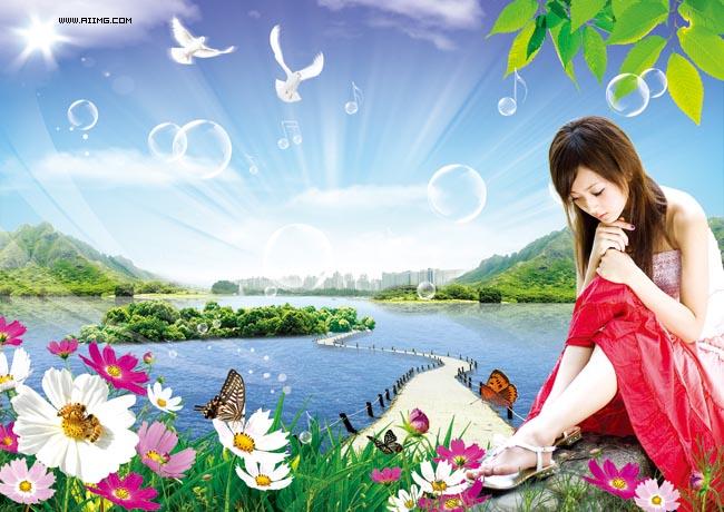 美女风景图片-爱图网设计图片素材下载林丽美女图片