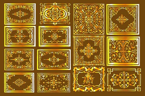 金色欧式花纹矢量素材