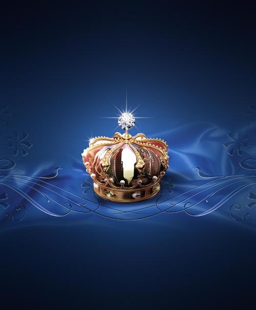 皇冠蓝色绸布