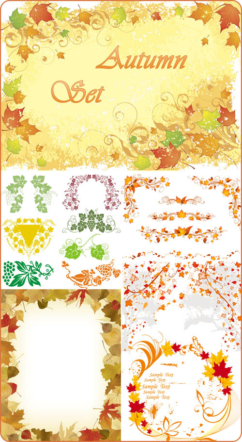 秋天树叶花边矢量素材