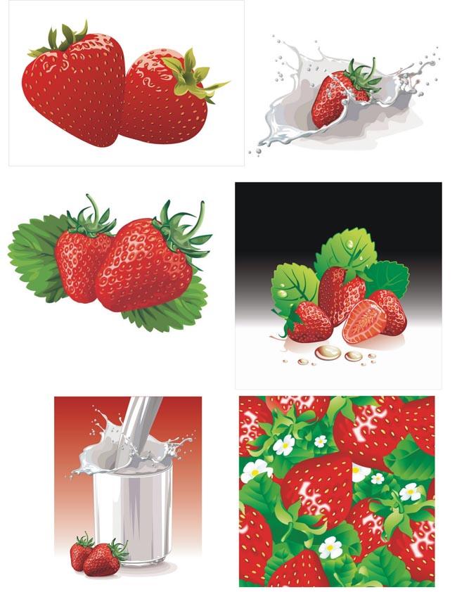 动感牛奶与草莓矢量素材