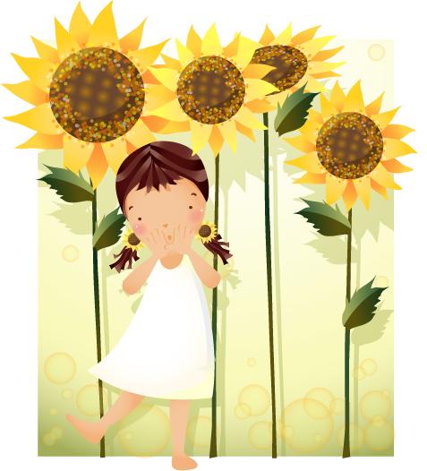 卡通女孩与向日葵