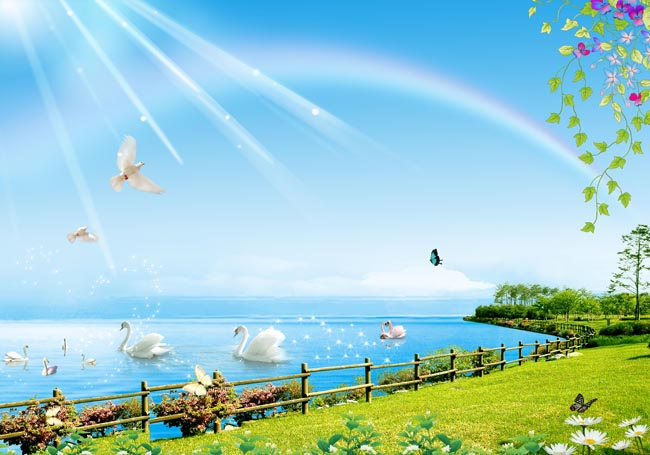 清爽湖边风景图片