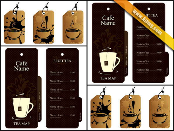 咖啡杯吊牌和挂牌矢量素材
