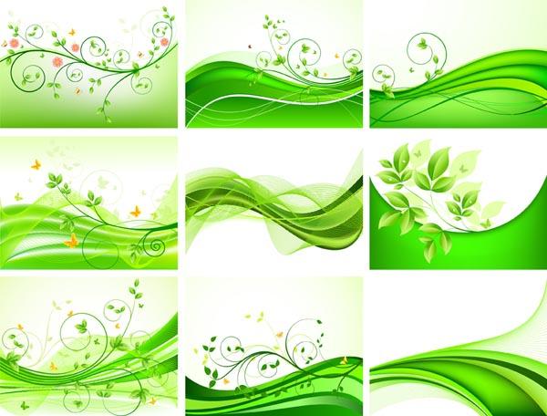清新绿色花纹背景矢量素材