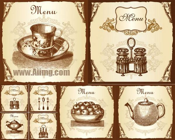 花纹装饰花纹复古果盘复古装饰复古花纹刀叉叉子茶壶