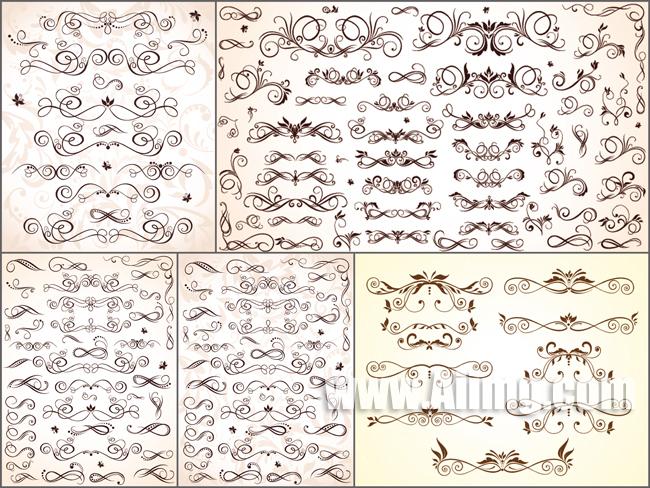 刻绘花纹矢量素材 简约欧式花纹矢量素材