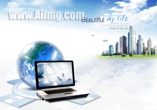 电脑_地球笔记本电脑商务素材