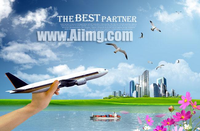 爱图首页 psd素材 科技金融 飞机模型 城市风景 放飞 手势 蓝天白云