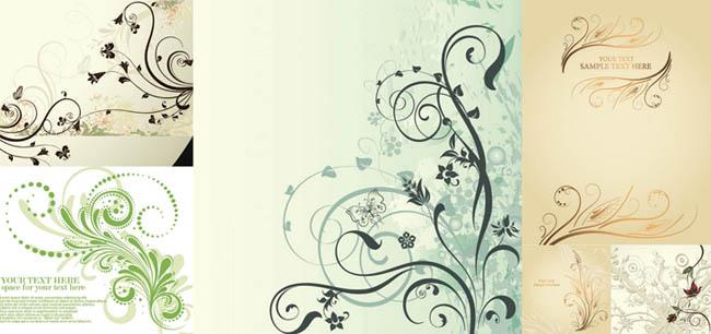 5色欧式花纹窗帘矢量素材