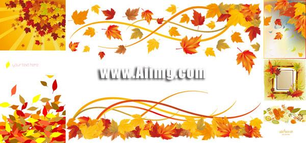 秋天树叶主题矢量素材 - 爱图网设计图片素材下载图片