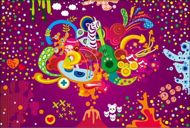 矢量可爱卡通元素色彩斑拉吉他圆点可爱图形卡通人物斑马皇冠圆形心形