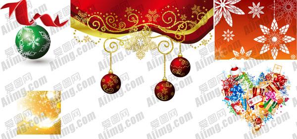 关键字: 缤纷圣诞节元素矢量素材丝带飘带挂球梦幻雪花背景心形花纹
