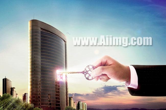> 素材信息   关键字: 商务图片商务素材大厦风景图片蓝色天空金钥匙