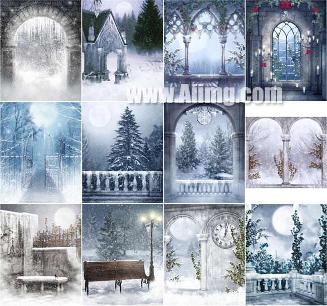 12张美丽冬天雪景影楼背景图片