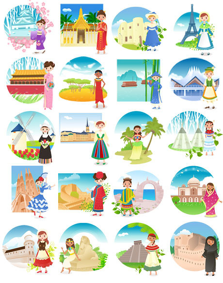 各国民俗风情_各国民俗风情卡通矢量素材 - 爱图网设计图片素材下载