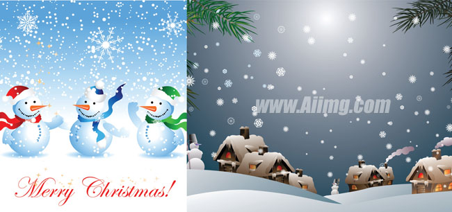 冬天自然风景雪景雪人矢量素材