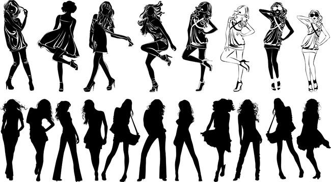 爱图首页 矢量素材 人物卡通 eps 矢量素材 矢量图 人物剪影 裙子女孩