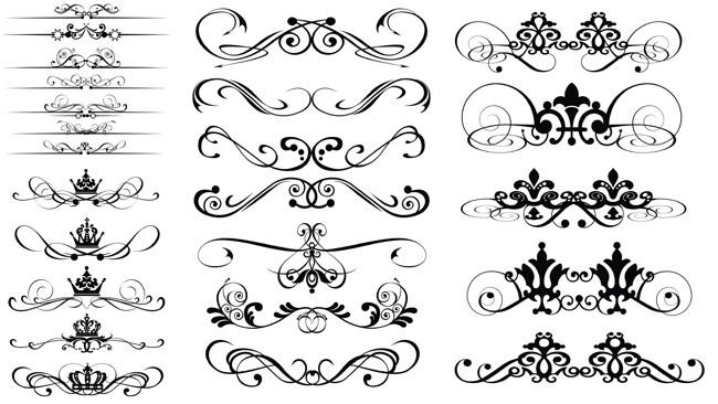 eps矢量素材矢量图装饰花纹王冠皇冠黑白花纹欧式