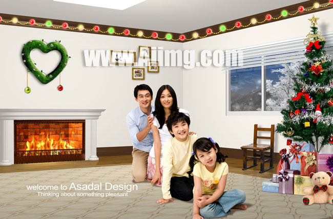 圣誕節家庭室內ps素材