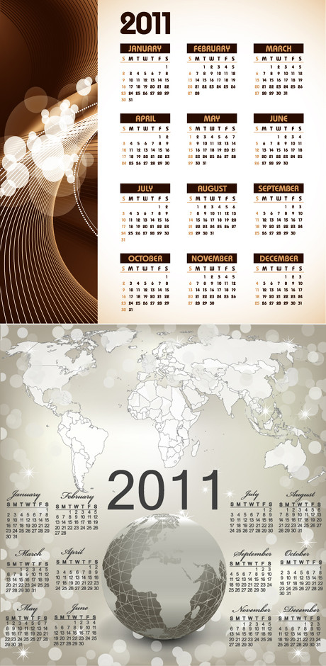 2011年时尚风格日历矢量素材